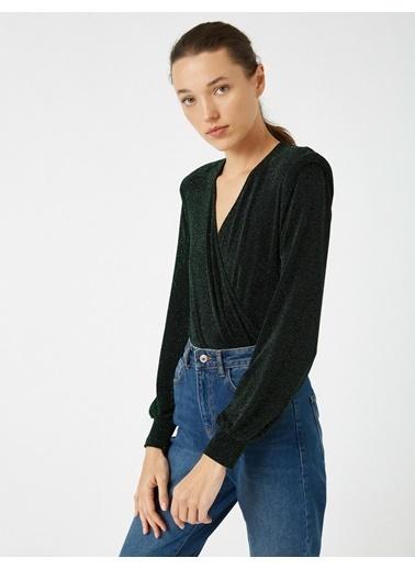 Koton Vatkali Uzun Kollu Bluz Yeşil